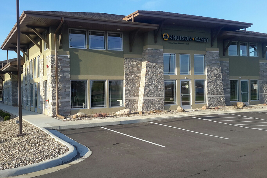 Exterior View of Jand Development Strip Mall, Knutson and Casey Entrance, New Construction in Mankato, Minnesota