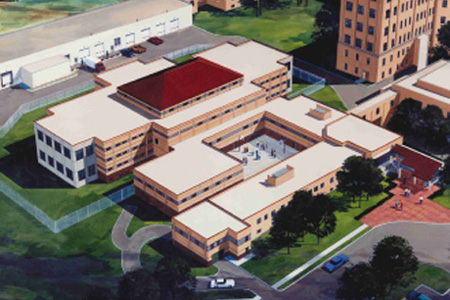 Aerial Rendering of Juvenile Facility, Multi-Level Housing in Omaha, NE