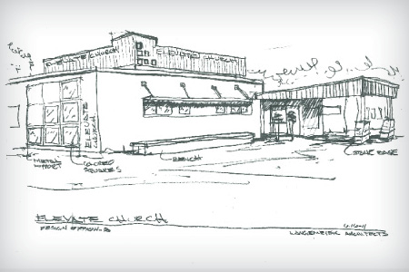 Concept Drawing of Elevate Church, Adaptive-Reuse Project in Mankato, MN