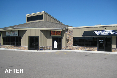 Exterior Front View of Galleria East Strip Mall After Remodel, Building Design in Mankato, Minnesota