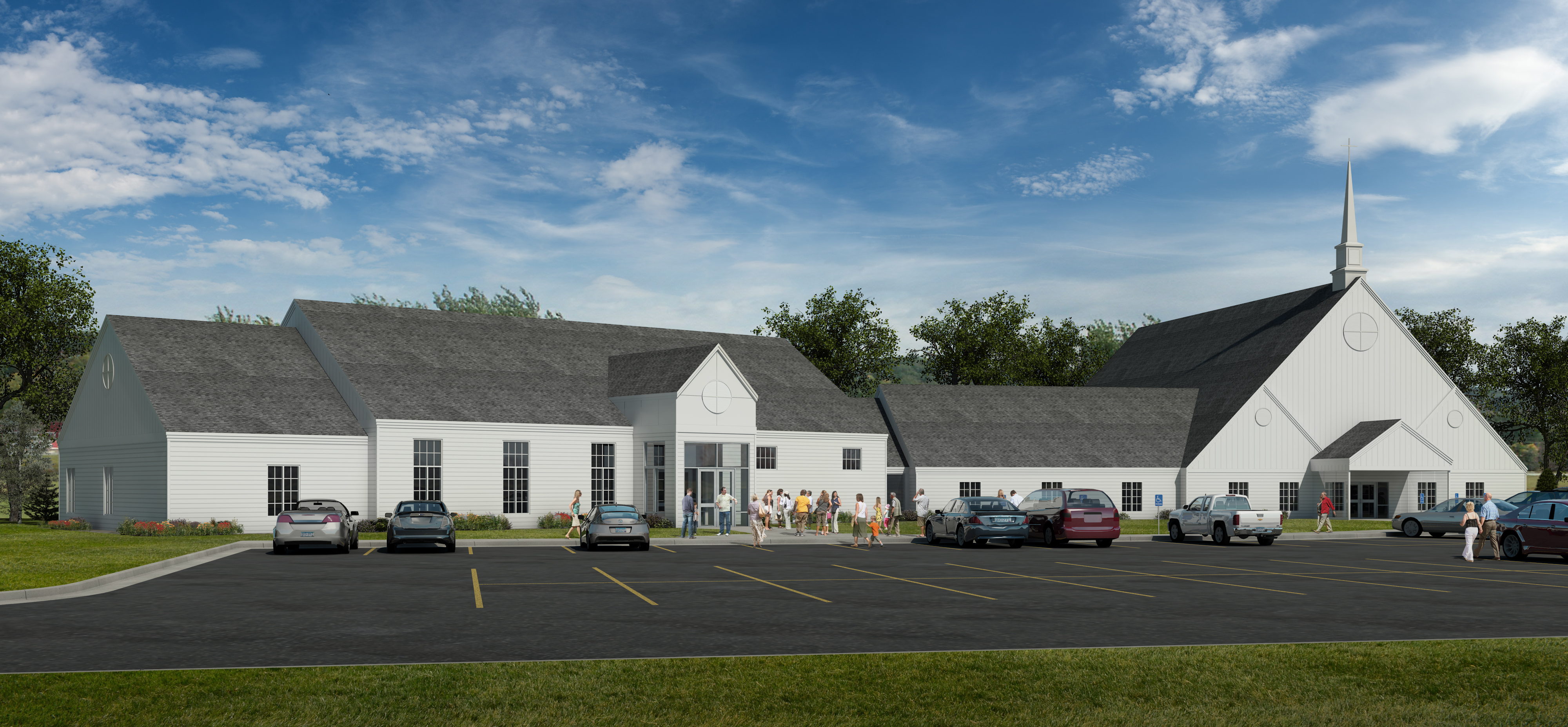 Exterior Rendering of Peace Evangelical Lutheran Church, Church Remodel and Addition in North Mankato, MN