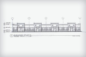 Elevation Sketch of Premiere Centre Strip Mall, Front View of Stand-Alone Building in Mankato, Minnesota