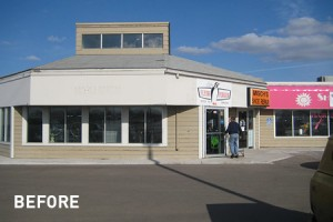 Exterior Front View of Galleria East Strip Mall Before Remodel, Building Design in Mankato, Minnesota